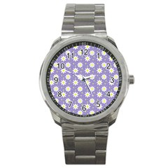 Daisy Dots Violet Sport Metal Watch by snowwhitegirl