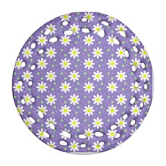 Daisy Dots Violet Round Filigree Ornament (two Sides) by snowwhitegirl