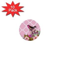 Shabby Chic,floral,bird,pink,collage 1  Mini Buttons (10 Pack)  by 8fugoso
