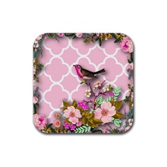 Shabby Chic,floral,bird,pink,collage Rubber Coaster (square)  by 8fugoso