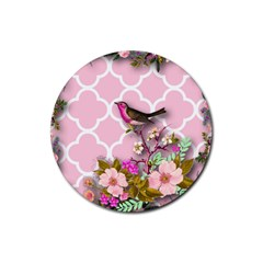 Shabby Chic,floral,bird,pink,collage Rubber Coaster (round)  by 8fugoso