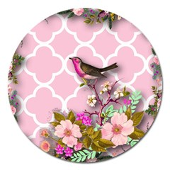 Shabby Chic,floral,bird,pink,collage Magnet 5  (round) by 8fugoso