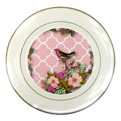 Shabby Chic,floral,bird,pink,collage Porcelain Plates by 8fugoso