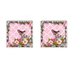 Shabby Chic,floral,bird,pink,collage Cufflinks (square) by 8fugoso