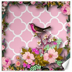 Shabby Chic,floral,bird,pink,collage Canvas 12  X 12   by 8fugoso