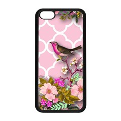 Shabby Chic,floral,bird,pink,collage Apple Iphone 5c Seamless Case (black) by 8fugoso