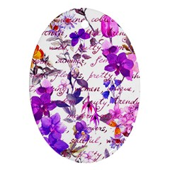Ultra Violet,shabby Chic,flowers,floral,vintage,typography,beautiful Feminine,girly,pink,purple Ornament (oval) by 8fugoso