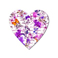 Ultra Violet,shabby Chic,flowers,floral,vintage,typography,beautiful Feminine,girly,pink,purple Heart Magnet by 8fugoso