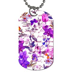 Ultra Violet,shabby Chic,flowers,floral,vintage,typography,beautiful Feminine,girly,pink,purple Dog Tag (two Sides) by 8fugoso