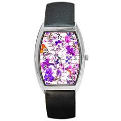 Ultra Violet,shabby Chic,flowers,floral,vintage,typography,beautiful Feminine,girly,pink,purple Barrel Style Metal Watch by 8fugoso