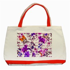 Ultra Violet,shabby Chic,flowers,floral,vintage,typography,beautiful Feminine,girly,pink,purple Classic Tote Bag (red) by 8fugoso
