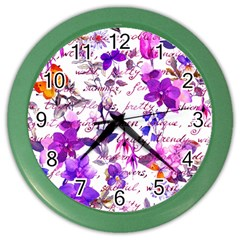 Ultra Violet,shabby Chic,flowers,floral,vintage,typography,beautiful Feminine,girly,pink,purple Color Wall Clocks by 8fugoso