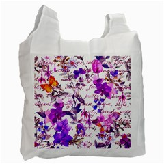 Ultra Violet,shabby Chic,flowers,floral,vintage,typography,beautiful Feminine,girly,pink,purple Recycle Bag (one Side) by 8fugoso