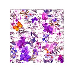 Ultra Violet,shabby Chic,flowers,floral,vintage,typography,beautiful Feminine,girly,pink,purple Small Satin Scarf (square) by 8fugoso