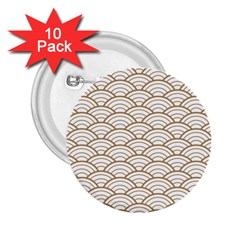 Gold,white,art Deco,vintage,shell Pattern,asian Pattern,elegant,chic,beautiful 2 25  Buttons (10 Pack)  by 8fugoso