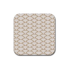 Gold,white,art Deco,vintage,shell Pattern,asian Pattern,elegant,chic,beautiful Rubber Square Coaster (4 Pack)  by 8fugoso