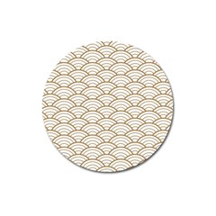Gold,white,art Deco,vintage,shell Pattern,asian Pattern,elegant,chic,beautiful Magnet 3  (round) by 8fugoso