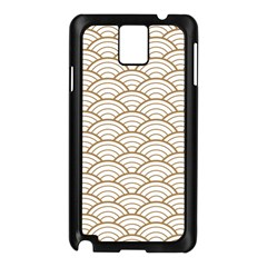 Gold,white,art Deco,vintage,shell Pattern,asian Pattern,elegant,chic,beautiful Samsung Galaxy Note 3 N9005 Case (black)