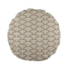 Gold,white,art Deco,vintage,shell Pattern,asian Pattern,elegant,chic,beautiful Standard 15  Premium Flano Round Cushions by 8fugoso