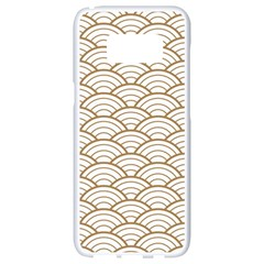Gold,white,art Deco,vintage,shell Pattern,asian Pattern,elegant,chic,beautiful Samsung Galaxy S8 White Seamless Case by 8fugoso