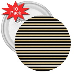 Black And Gold Stripes 3  Buttons (10 Pack)  by jumpercat