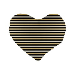 Black And Gold Stripes Standard 16  Premium Flano Heart Shape Cushions