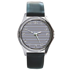 Royal Gold Classic Stripes Round Metal Watch by jumpercat