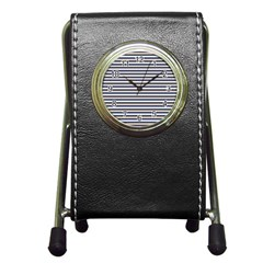 Royal Gold Classic Stripes Pen Holder Desk Clocks