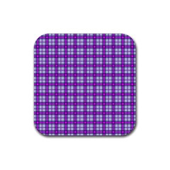 Purple Tartan Rubber Coaster (square)  by jumpercat