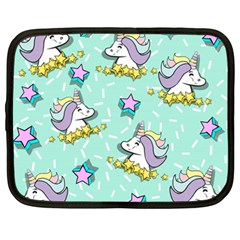 Magical Happy Unicorn And Stars Netbook Case (large) by allthingseveryday
