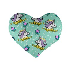 Magical Happy Unicorn And Stars Standard 16  Premium Flano Heart Shape Cushions by allthingseveryday
