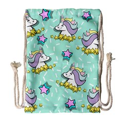Magical Happy Unicorn And Stars Drawstring Bag (large) by allthingseveryday