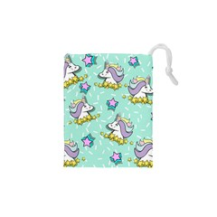 Magical Happy Unicorn And Stars Drawstring Pouches (xs)  by allthingseveryday
