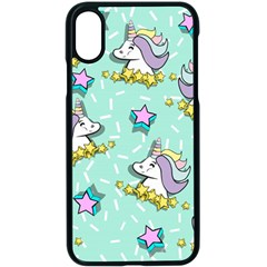 Magical Happy Unicorn And Stars Apple Iphone X Seamless Case (black)