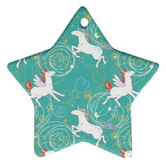 Magical Flying Unicorn Pattern Ornament (star) by allthingseveryday