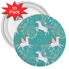 Magical Flying Unicorn Pattern 3  Buttons (10 Pack)  by allthingseveryday