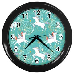 Magical Flying Unicorn Pattern Wall Clocks (black) by allthingseveryday