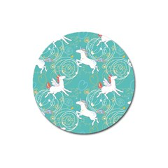 Magical Flying Unicorn Pattern Magnet 3  (round) by allthingseveryday
