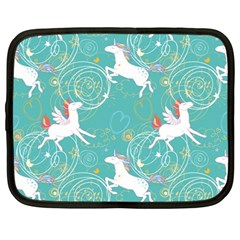 Magical Flying Unicorn Pattern Netbook Case (large) by allthingseveryday