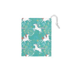 Magical Flying Unicorn Pattern Drawstring Pouches (xs)  by allthingseveryday
