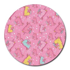 Unicorns Eating Ice Cream Pattern Round Mousepads by allthingseveryday
