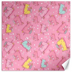 Unicorns Eating Ice Cream Pattern Canvas 16  X 16   by allthingseveryday