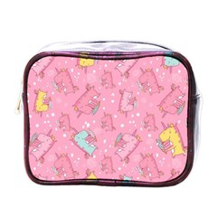 Unicorns Eating Ice Cream Pattern Mini Toiletries Bags by allthingseveryday