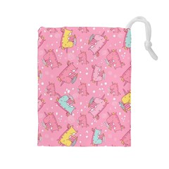 Unicorns Eating Ice Cream Pattern Drawstring Pouches (large)  by allthingseveryday