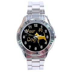 Year Of The Dog   Chinese New Year Stainless Steel Analogue Watch by Valentinaart