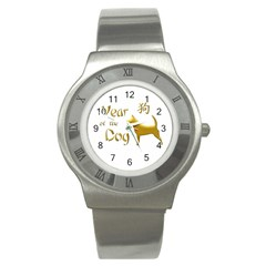 Year Of The Dog   Chinese New Year Stainless Steel Watch by Valentinaart