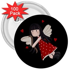 Cupid Girl 3  Buttons (100 Pack)  by Valentinaart