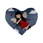 Cupid girl Standard 16  Premium Flano Heart Shape Cushions Front