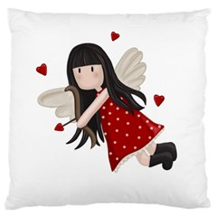 Cupid Girl Large Cushion Case (one Side) by Valentinaart