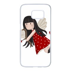 Cupid Girl Samsung Galaxy S7 Edge White Seamless Case by Valentinaart